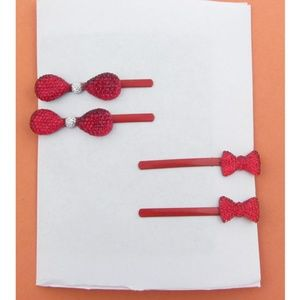 New Girl's Rhinestone Bow Hair Pins
